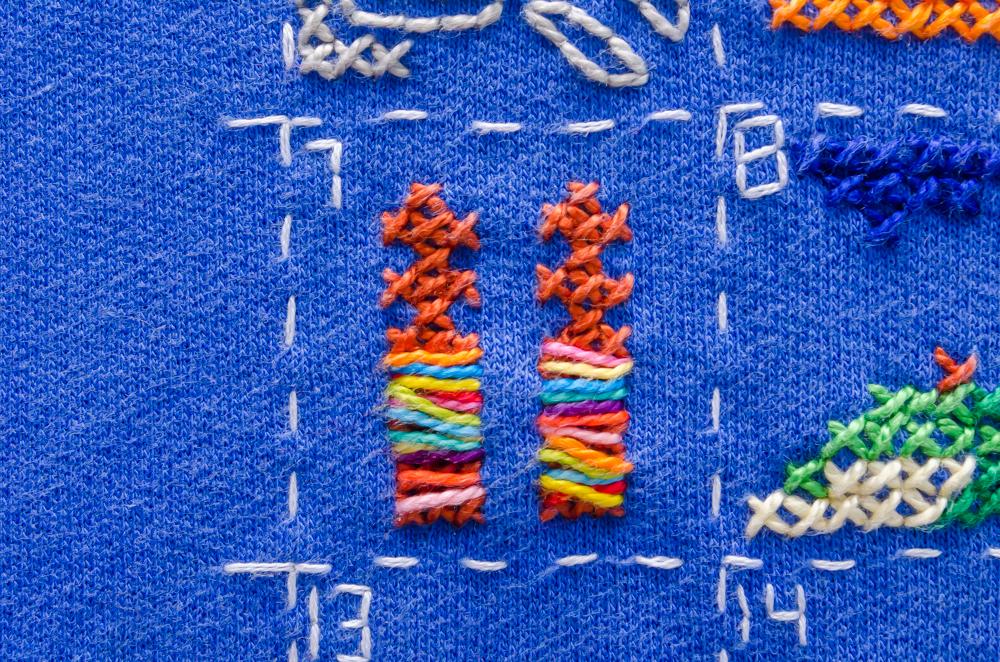 Een detail van de geborduurde trui. Te zien is de Sjaman Rock op Olkhon.