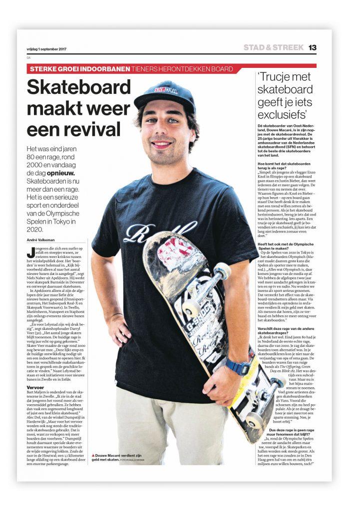 De Stentor, redactionele vormgeving, onderwerp: skateboarden.
