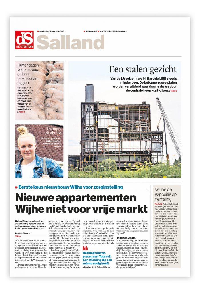 De Stentor, voorpagina editie Salland.