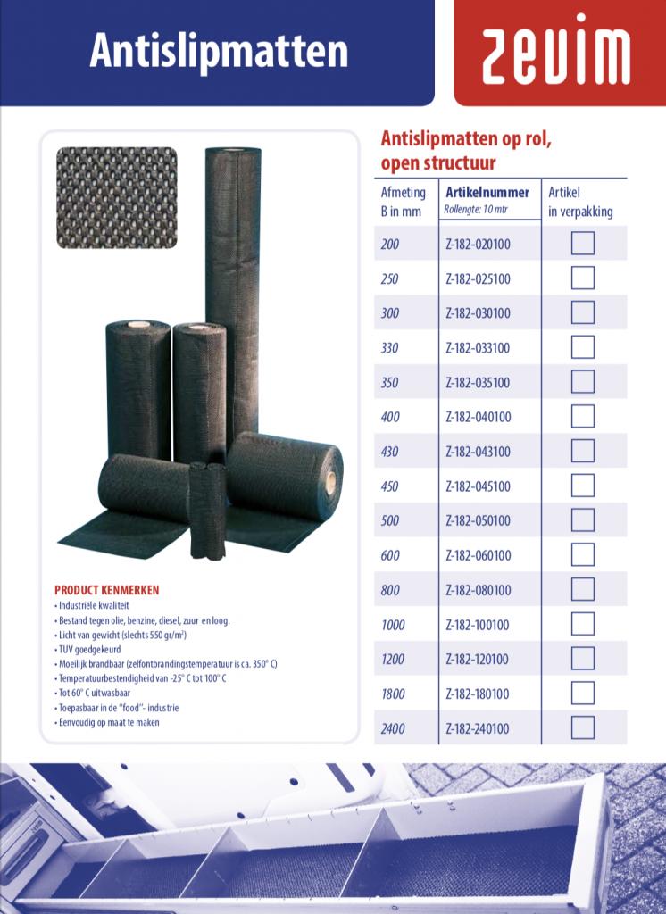Zevim bedrijfswageninrichtingen, folder antislip matten.