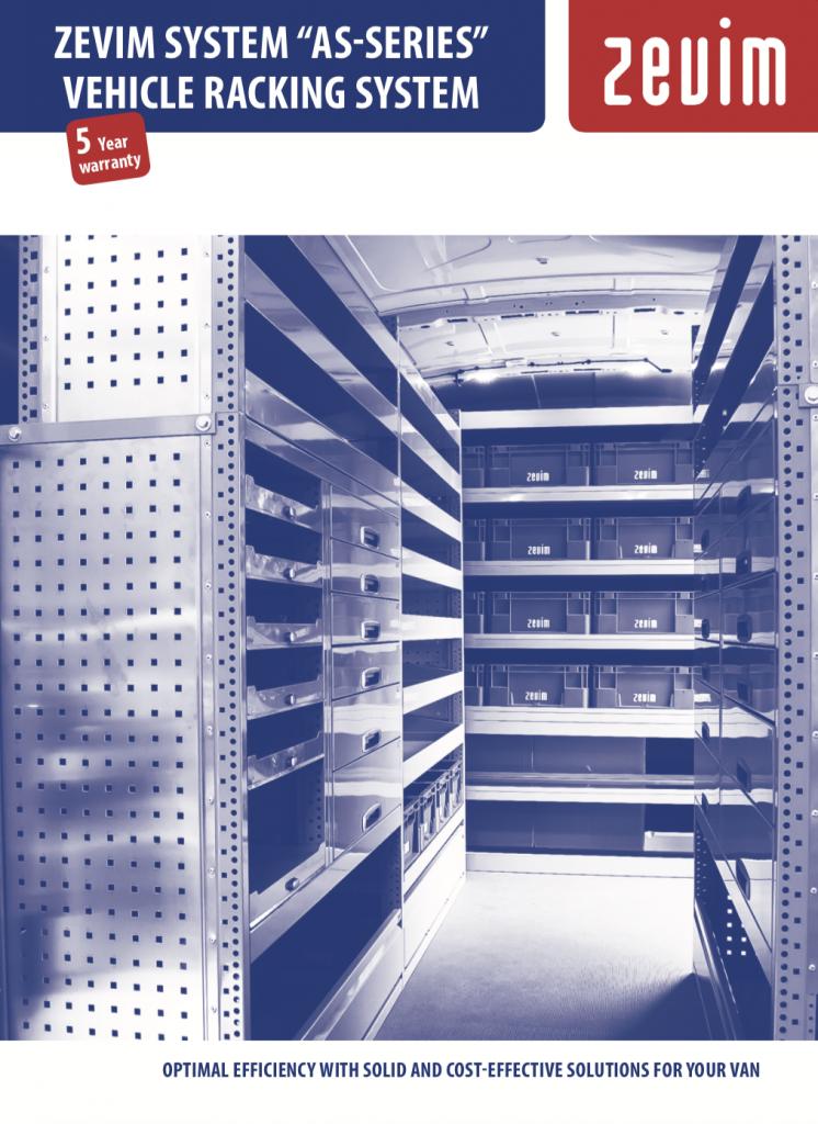 Zevim bedrijfswageninrichtingen, folder verticaal systeem, Engels