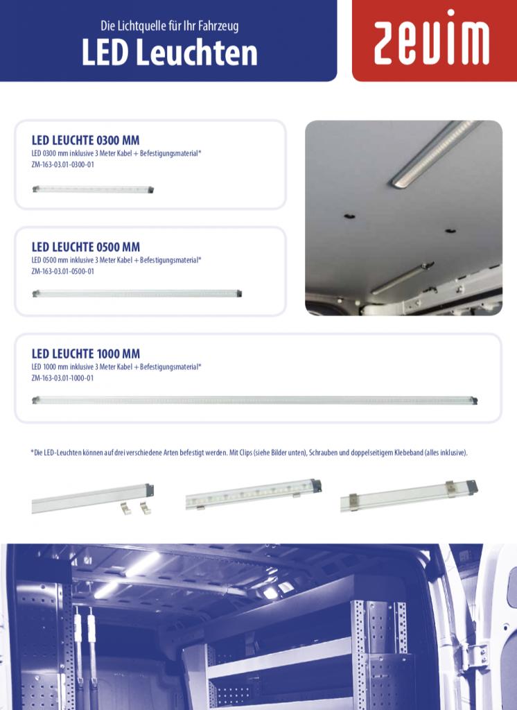 Zevim bedrijfswageninrichtingen, folder LED lampen Duits