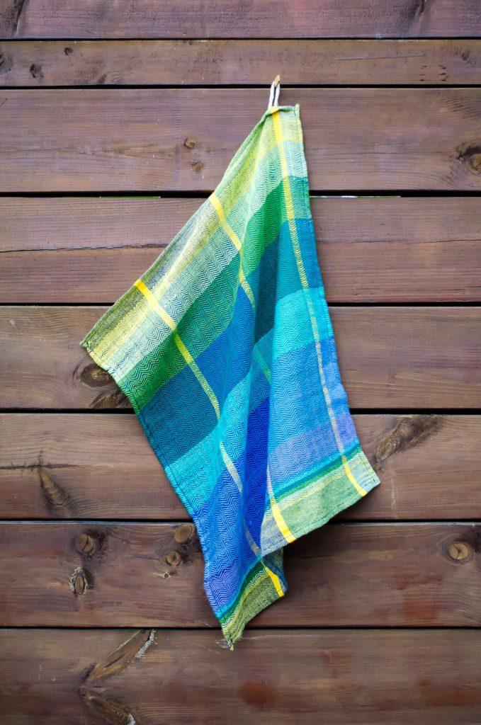 Handgeweven multicolor theedoek