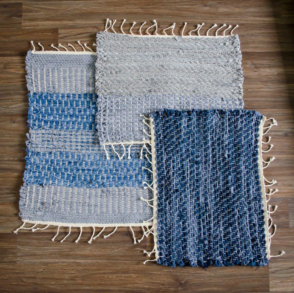 Upcycle textiel, handgeweven unieke vloerkleedjes van oude spijkerbroeken, door Atelier groenmblauw.