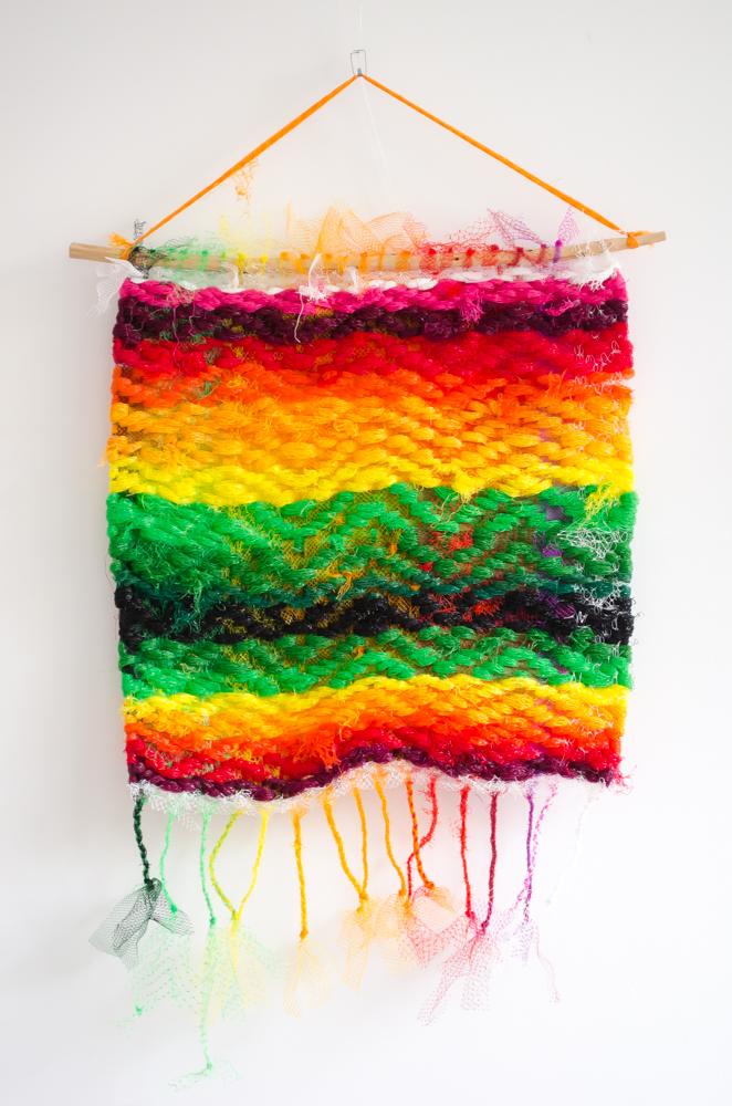 plastic netjes wandkleden keperbinding